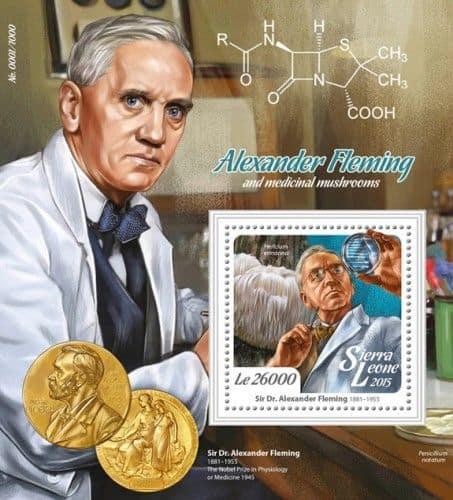 Alexander Fleming na známce s korálovcem ježatým