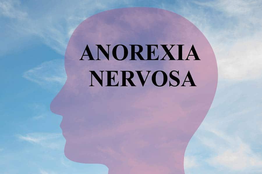 Mentální anorexie - brázek mozku s nápisem anorexia