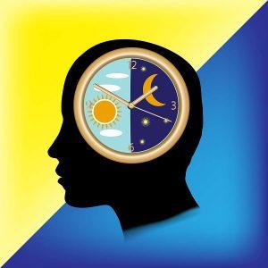 Silueta hlavy, která má místo mozku hodiny rozdělnené na den a noc