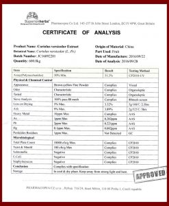 Certificate of analysis Coriolus versicolor