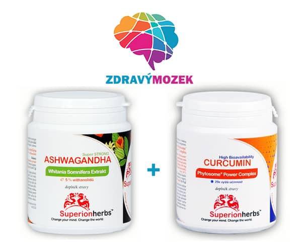 Doplňky stravy pro zdravý mozek od Superionherbs - Ashwagandha a Curcumin