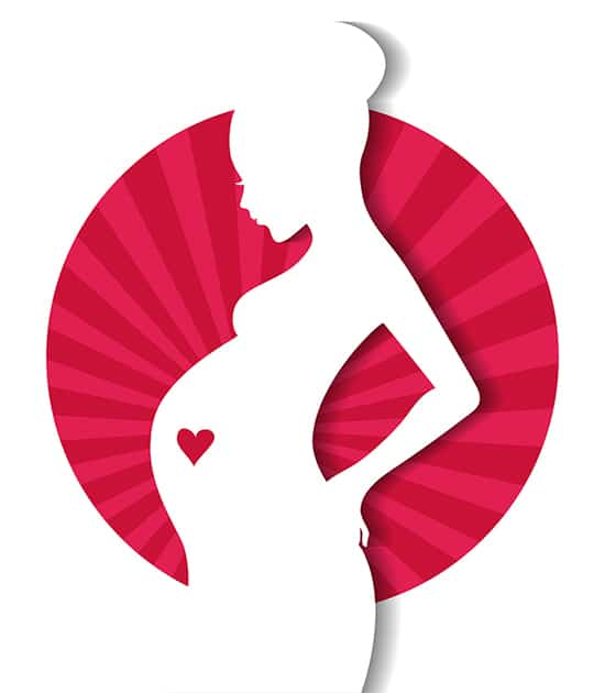 nákres těhotné ženy s obrázkem srdce na břiše