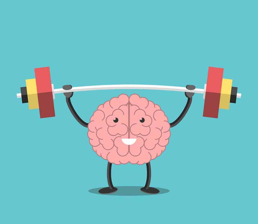 nákres, kdy postavička mozku zvedá činku