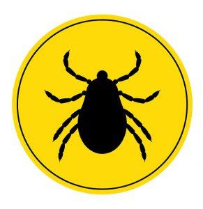 klíště ve žlutém kruhu
