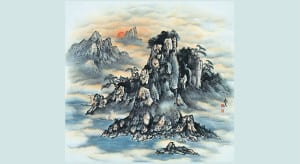 nákres vysokých hor, kde rostou léčivé houby