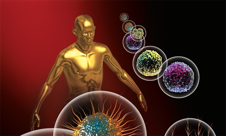 zlatá soška muže, okolo kterého létají bakterie