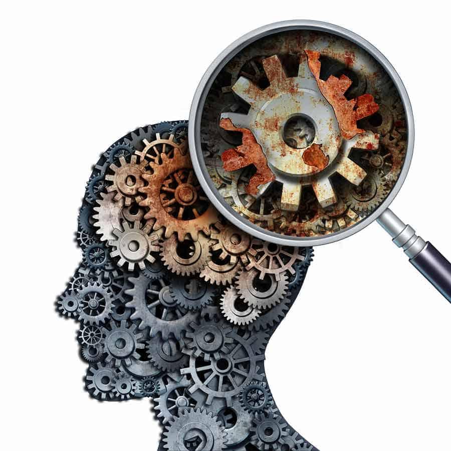 Demence, poškození mozku.