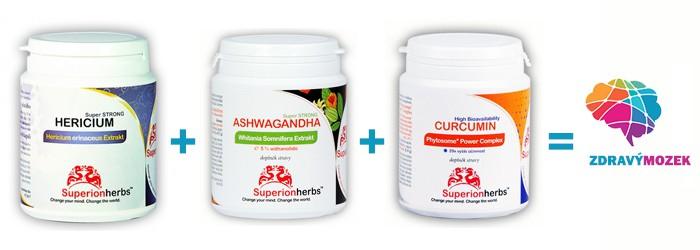 balení různých doplňků stravy Superionherbs pro zdravý mozek
