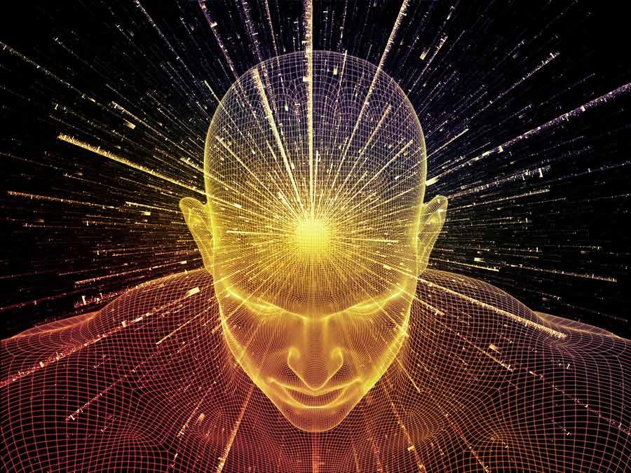 3D nákres hlavy a těla osoby se zaměřením na nervovou soustavu