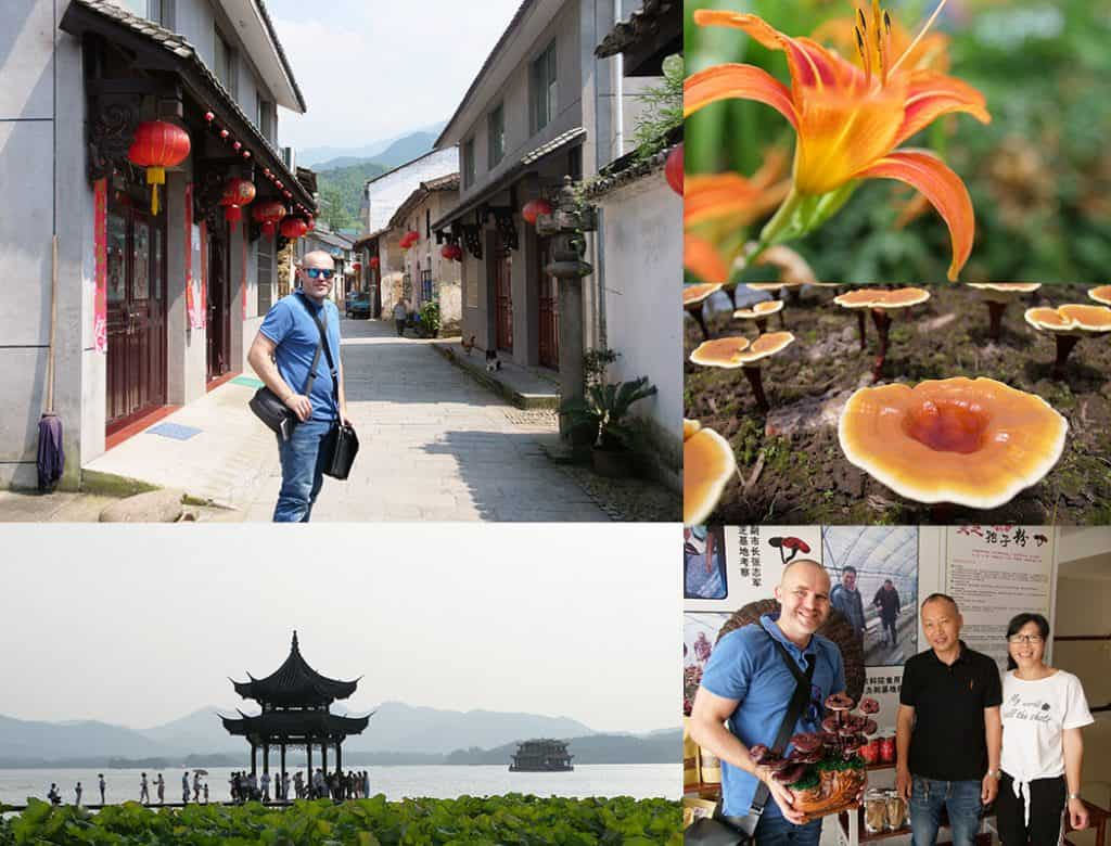 Koláž fotografií z cesty po číně s Pavlem Štěpkou