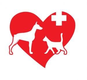 logo se srdcem, kde je pes a kočka