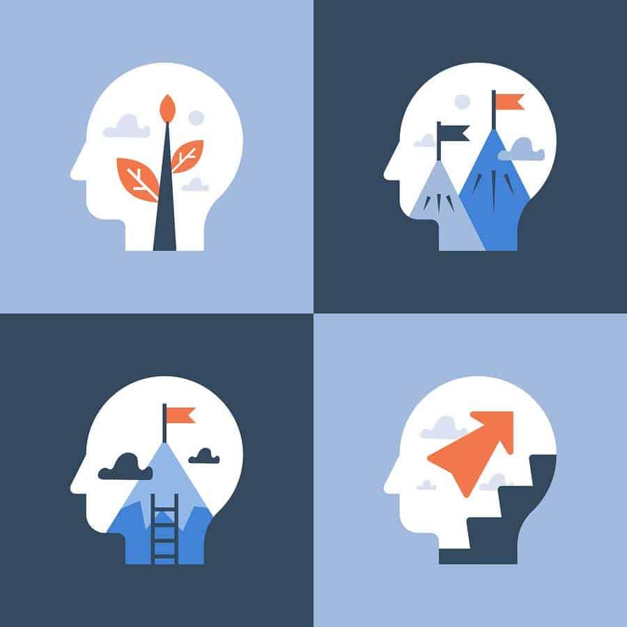 abstraktní představa lidské víry - čtyři obrysy hlavy, vyplněné různými tužbami
