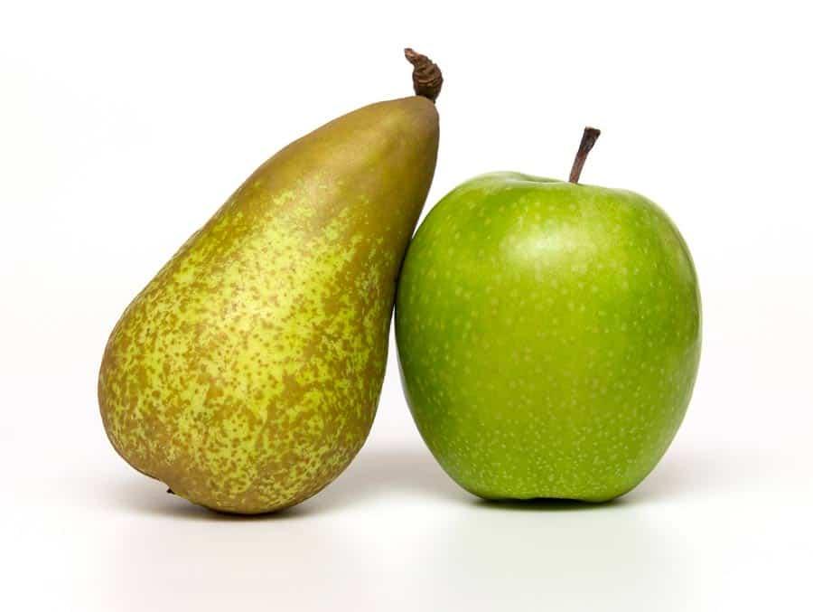 hruška a jablko představují symboly pro viscerální tuk