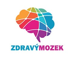 Grafika mozku v duhových barvách s nápisem zdravý mozek